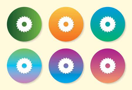 Saw Blade six color gradient icon design.