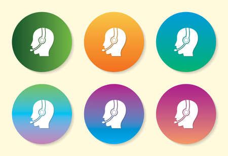 Call Centre six color gradient icon design.