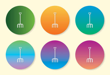 Pitch Fork six color gradient icon design. Ilustração