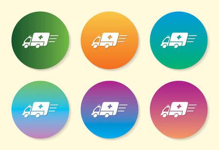 Ambulance six color gradient icon design.