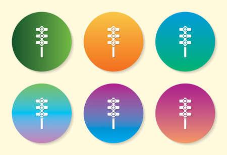 Traffic Light Drum six color gradient icon design.