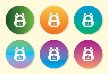Back Pack six color gradient icon design.