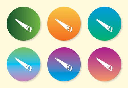 Hand Saw six color gradient icon design.