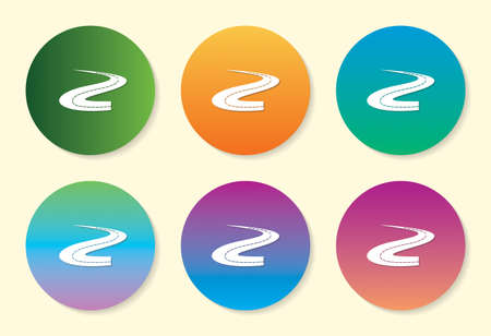 Road six color gradient icon design. Ilustração