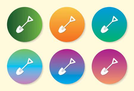 Shovel six color gradient icon design. Ilustração