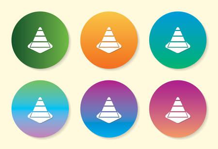 Construction Cone six color gradient icon design.