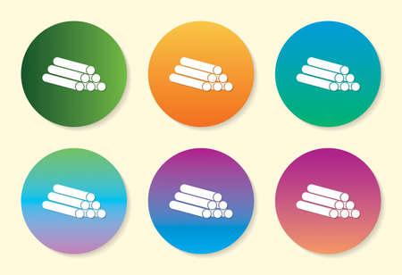 Pipe six color gradient icon design. Ilustração