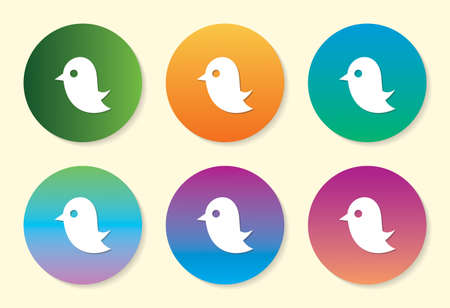Bird six color gradient icon design.