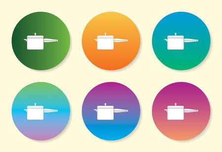 Cooker six color gradient icon. Çizim