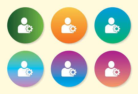 User Setting six color gradient icon. Çizim