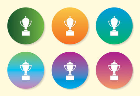 Winning Trophy six color gradient icon. Çizim