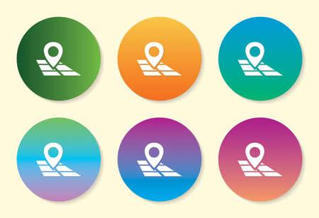 Map Pointer six color gradient icon. Illusztráció