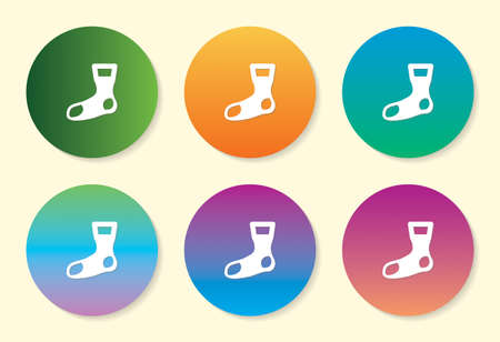 Socks six color gradient icon.