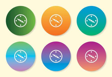 Direction Compass six color gradient icon. Çizim