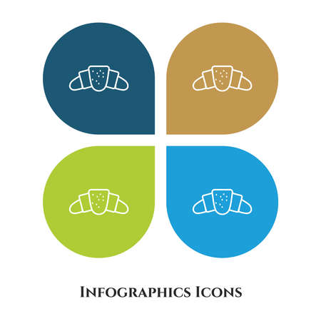 Croissant Vector Illustration icon for all purpose. Isolated on 4 different backgrounds.