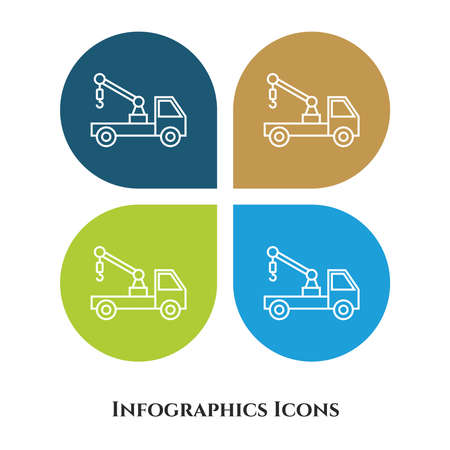 Crane Truck Vector Illustration icon for all purpose. Isolated on 4 different backgrounds.