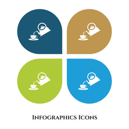 Tea Kettle Vector Illustration icon for all purpose. Isolated on 4 different backgrounds.