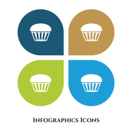Cup Cake Vector Illustration icon for all purpose. Isolated on 4 different backgrounds.