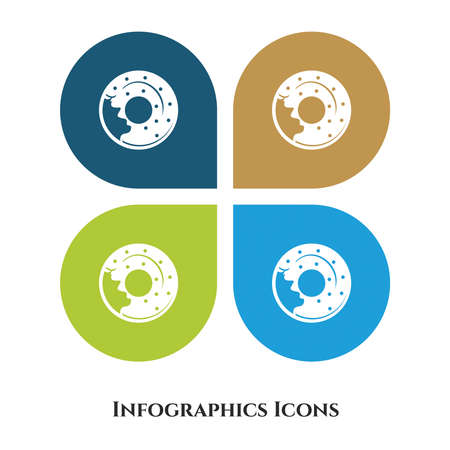 Donuts Vector Illustration icon for all purpose. Isolated on 4 different backgrounds.