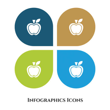 Apple Vector Illustration icon for all purpose. Isolated on 4 different backgrounds.