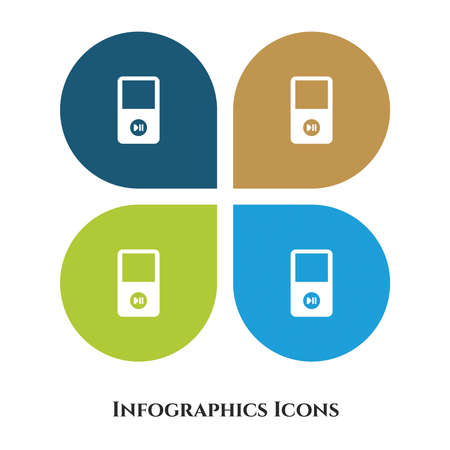 Portable Music Player Vector Illustration icon for all purpose. Isolated on 4 different backgrounds. Vettoriali