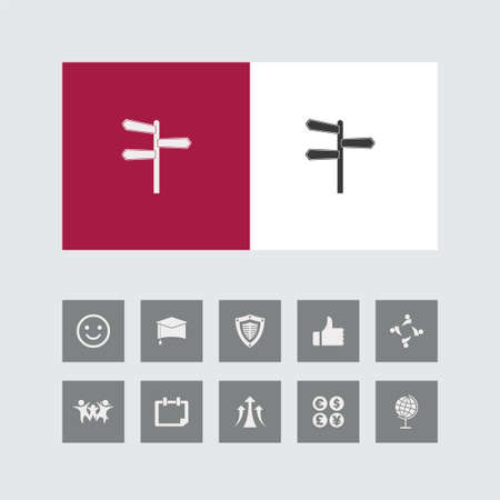 Creative Blank Road Sign Icon with Bonus Icons. 向量圖像