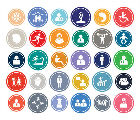 People Infographic Round design Icon Sets For Web, App And Design.