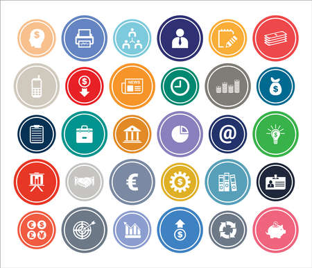 Business & Finance Infographic Round design Icon Sets For Web, App And Design. Vettoriali