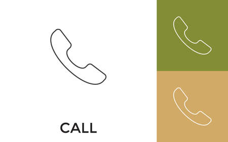 Editable Call Thin Line Icon with Title. Useful For Mobile Application, Website, Software and Print Media.  イラスト・ベクター素材