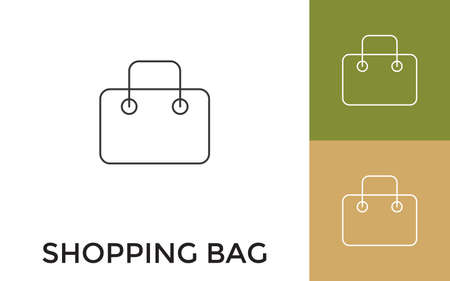 Editable Shopping Bag Thin Line Icon with Title. Useful For Mobile Application, Website, Software and Print Media.