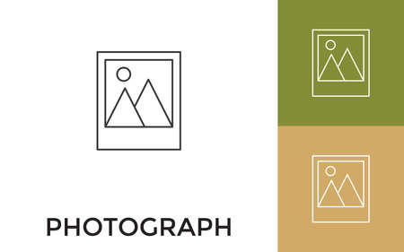 Editable Photo Thin Line Icon with Title. Useful For Mobile Application, Website, Software and Print Media.