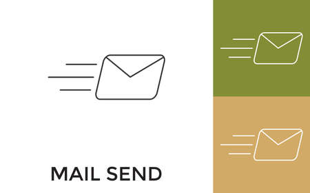 Editable Mail Thin Line Icon with Title. Useful For Mobile Application, Website, Software and Print Media.