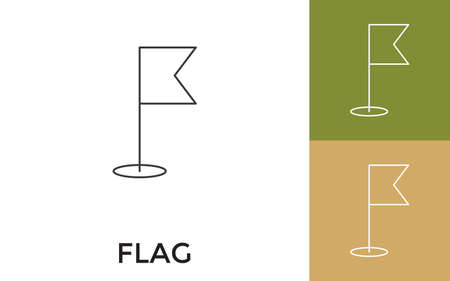 Editable Flag Thin Line Icon with Title. Useful For Mobile Application, Website, Software and Print Media.