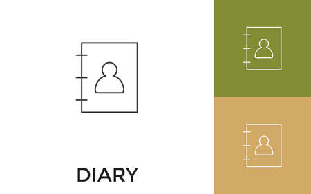 Editable Diary Thin Line Icon with Title. Useful For Mobile Application, Website, Software and Print Media.