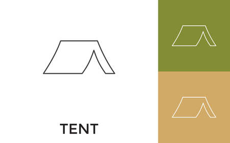 Editable Tent Thin Line Icon with Title. Useful For Mobile Application, Website, Software and Print Media.