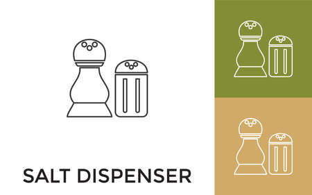 Editable Salt Dispenser Thin Line Icon with Title. Useful For Mobile Application, Website, Software and Print Media.