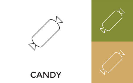 Editable Candy Thin Line Icon with Title. Useful For Mobile Application, Website, Software and Print Media.