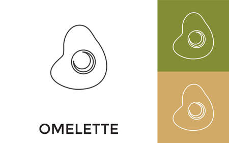 Editable Omelet Thin Line Icon with Title. Useful For Mobile Application, Website, Software and Print Media.