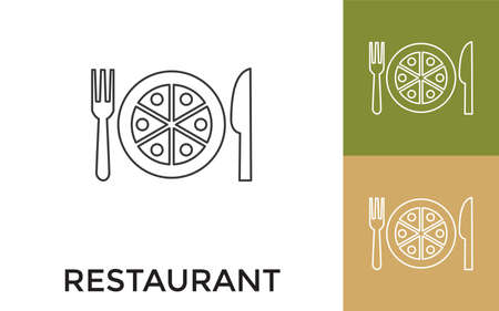 Editable Restaurant Thin Line Icon with Title. Useful For Mobile Application, Website, Software and Print Media.