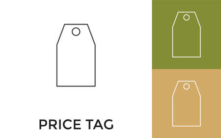 Editable Price Tag Thin Line Icon with Title. Useful For Mobile Application, Website, Software and Print Media.