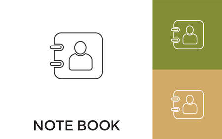 Editable Note Book Thin Line Icon with Title. Useful For Mobile Application, Website, Software and Print Media.