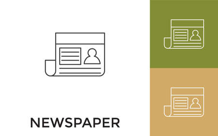 Editable Newspaper Thin Line Icon with Title. Useful For Mobile Application, Website, Software and Print Media. Ilustração