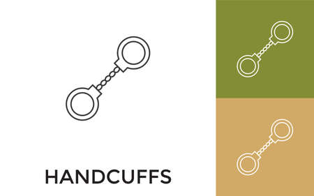 Editable Handcuffs Thin Line Icon with Title. Useful For Mobile Application, Website, Software and Print Media. Vektorové ilustrace
