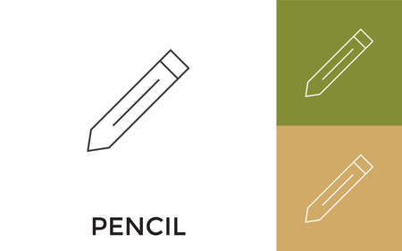 Editable Pencil Thin Line Icon with Title. Useful For Mobile Application, Website, Software and Print Media.