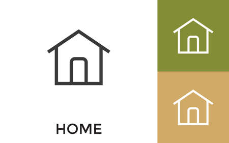 Editable Home Icon with Title. Useful For Mobile Application, Website, Software and Print Media.