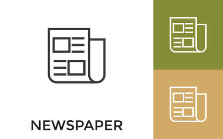 Editable Newspaper Icon with Title. Useful For Mobile Application, Website, Software and Print Media. Ilustração