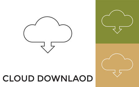 Editable Cloud Downloading Thin Line Icon with Title. Useful For Mobile Application, Website, Software and Print Media.