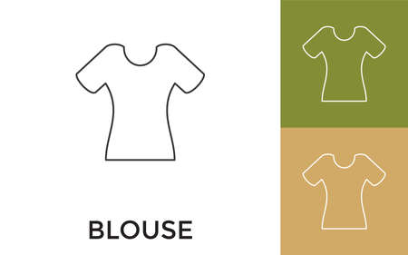 Editable Blouse Thin Line Icon with Title. Useful For Mobile Application, Website, Software and Print Media.