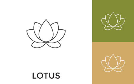 Editable Lotus Thin Line Icon with Title. Useful For Mobile Application, Website, Software and Print Media. Illusztráció