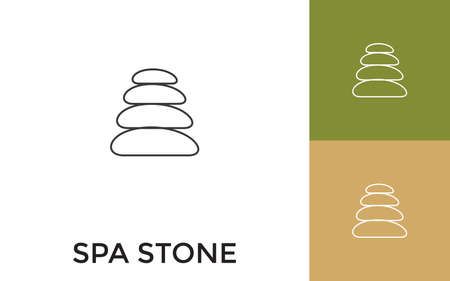 Editable Spa Stone Thin Line Icon with Title. Useful For Mobile Application, Website, Software and Print Media.